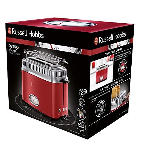 Russell Hobbs 21680-56 Retro Ribbon Red Toaster mit stylischer Countdown-Anzeige, Schnell-Toast-Technologie, 1300 W, rot - 2
