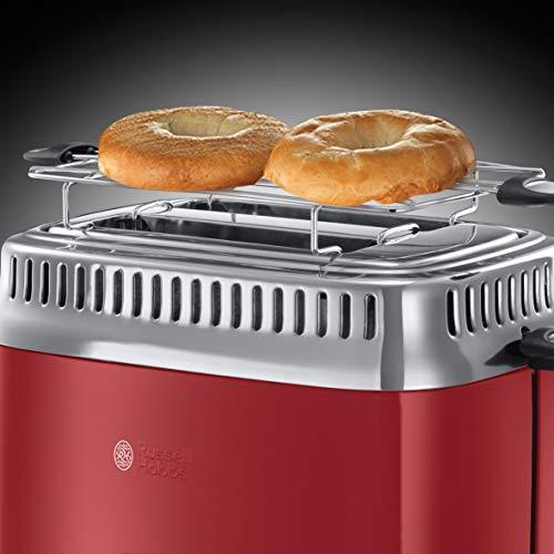 Russell Hobbs 21680-56 Retro Ribbon Red Toaster mit stylischer Countdown-Anzeige, Schnell-Toast-Technologie, 1300 W, rot - 6